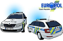Czech Police Car. Colored Illustration, Vector Stock Photo