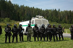 Czech police. During Czechtek 2005. This techno party was  ended by brutal police attack Royalty Free Stock Image