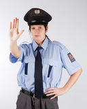 Czech police woman. Portrait of young czech policewoman in photo studio Royalty Free Stock Images