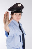 Czech police woman. Portrait of young czech policewoman in photo studio Royalty Free Stock Image