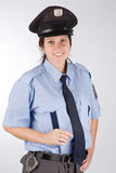 Czech police woman. Portrait of young czech policewoman in photo studio Royalty Free Stock Photography