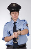 Czech police woman. Portrait of young czech policewoman in photo studio Royalty Free Stock Photos