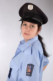 Czech police woman. Portrait of young czech policewoman in photo studio Stock Photos