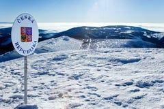Czech - Polish boarders, snowy winter countryside, Snezka mount. CZECH REPUBLIC; SNEZKA - JAN 11, 2016: Czech - Polish boarders, snowy winter countryside, Snezka Royalty Free Stock Photography