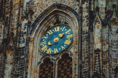 Czech, Prague, clock of the Saint Vitus cathedral decoration. Me stock image