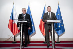 Milos Zeman and Petr Necas Royalty Free Stock Images