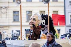 Czech president Milos Zeman mask on Velvet carnival in honor to Stock Photo