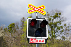 Czech Railroad crossing Royalty Free Stock Photo