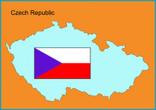 Czech Republic. Vector map and flag of Europe country Czech Republic Stock Images