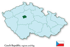 Czech Republic and all regions in vectors. Vector map of Czech Republic and all regions, including Prague. All in layers Stock Photos