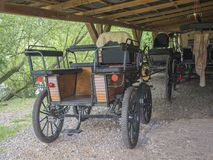 Czech republic, Benice May 18, 2018: Vintage old style chariots in barn, horse driven carriage stock photo