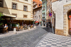 Czech Republic. Cafe on the street in Prague. June 13, 2016 Royalty Free Stock Image