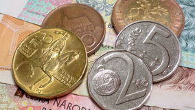 Czech republic crown coins and banknotes stock footage