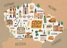 Free Czech Republic Cultural Map Hand Drawn Illustration. European Country Traditional Symbols. People In Authentic Clothing Royalty Free Stock Photo - 159273055