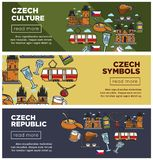 Czech Republic culture and symbols Internet web banners set. European architecture, local transport and traditional cuisine cartoon flat vector illustrations Royalty Free Stock Photo