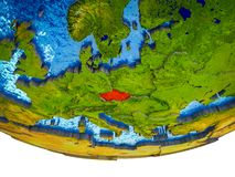 Czech republic on 3D Earth. With divided countries and watery oceans. 3D illustration stock illustration