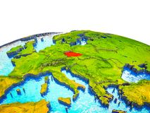 Czech republic on 3D Earth. With visible countries and blue oceans with waves. 3D illustration royalty free illustration