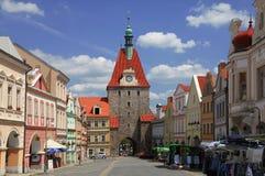 CZECH REPUBLIC, DOMAZLICE,  17 JULY,  2013: City gate and market square in Domazlice,  Czech Republic. Stock Photo
