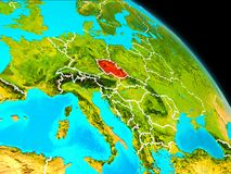 Czech republic on Earth. Space orbit view of Czech republic highlighted in red on planet Earth with visible borders. 3D illustration. Elements of this image Stock Photos