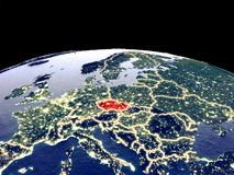 Czech republic on Earth from space. Czech republic from space on planet Earth at night with bright city lights. Detailed plastic planet surface with real royalty free illustration