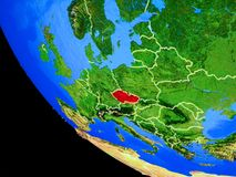 Czech republic on Earth from space. Czech republic on realistic model of planet Earth with country borders and very detailed planet surface. 3D illustration stock illustration