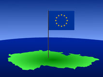Czech Republic and EU flag. Map of Czech Republic and European Union flag on pole illustration Royalty Free Stock Images
