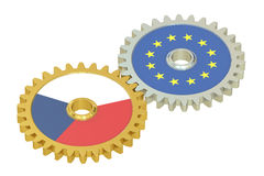 Czech Republic and EU flags on a gears, 3D rendering. On white background stock illustration