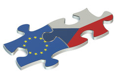 Czech Republic and EU puzzles from flags Stock Photos