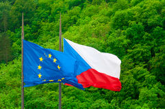 Czech republic and European Union EU flags Stock Photos