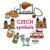 Czech Republic famous landmarks vector symbols. Czech Republic famous travel landmarks and traditional culture attraction symbols. Vector Czech Republic flag Royalty Free Stock Images