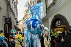 CZECH REPUBLIC - FEBRUARY 7, 2015:  Carnevale Prague 2015 at the Old Town Square Royalty Free Stock Photos