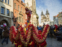 CZECH REPUBLIC - FEBRUARY 7, 2015:  Carnevale Prague 2015 at the Old Town Square Royalty Free Stock Photography