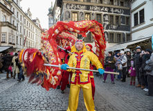 CZECH REPUBLIC - FEBRUARY 7, 2015:  Carnevale Prague 2015 at the Old Town Square Stock Photography
