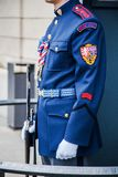 CZECH REPUBLIC - FEBRUARY 7, 2015: soldier in uniform holding a guard at Arms Royalty Free Stock Photography
