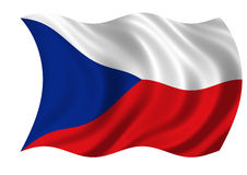 The Czech Republic Flag. Billowing in the wind. On white Royalty Free Stock Photography