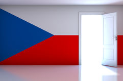 Czech Republic flag on empty room Royalty Free Stock Image