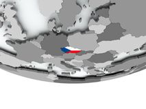 Czech republic with flag on globe Stock Images