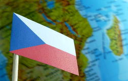 Czech Republic flag with a globe map as a background Stock Photography