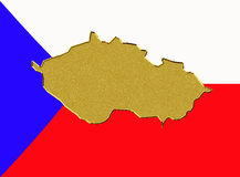Czech Republic flag and map Stock Photo