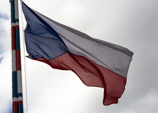 Czech Republic flag. Flag of the Czech Republic on the mast Stock Images