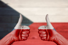 Czech Republic flag painted on female hands thumbs up Royalty Free Stock Image