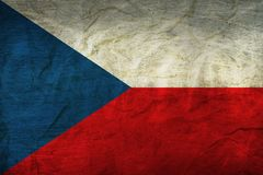 Czech Republic Flag on Paper. Flag on an old Paper Texture Royalty Free Stock Images