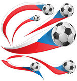 Czech Republic flag  set with soccer ball Royalty Free Stock Photo