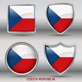 Czech Republic Flag in 4 shapes collection with clipping path stock photography