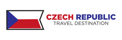 Czech Republic flag with travel destination words Royalty Free Stock Images