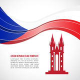 Czech republic flag wave and Prague Castle vector Template Stock Images