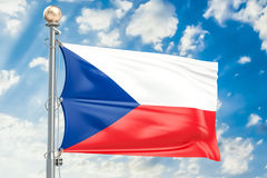 Czech Republic flag waving in blue cloudy sky, 3D rendering Stock Images