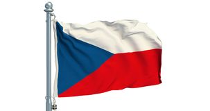 Czech Republic flag waving on white background, animation. 3D rendering stock video
