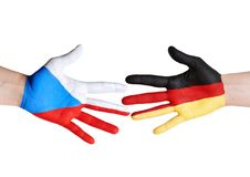 Czech republic and germany symbolized with hands Stock Images