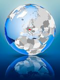 Czech republic on globe. Czech republic on political globe standing on reflective surface. 3D illustration Stock Photos